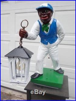 Antique Cast Iron Lawn Jockey Jocko Black Americana Outdoor Lighting Restored