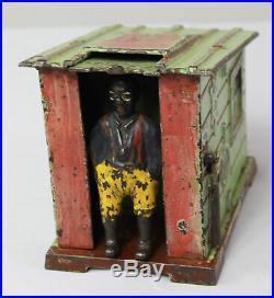 Antique Cast Iron Mechanical Cabin Bank Black Americana