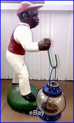 Antique Cement Black Americana Lawn Jockey Hitching Post Jocko Yard Statue