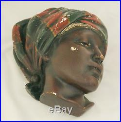 Antique Chalkware Black Americana Lady Wall Plaque String Holder Hand Painted