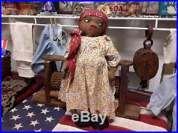 Antique Cloth Doll Handmade African American Embroidery Face Orig Cloths 18 12