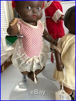 Antique Composition Black Americana Doll Set Of 4 & Unis France SFBJ Doll Lot 5