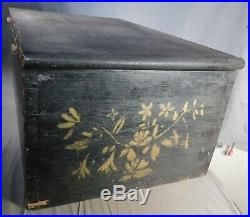 Antique Dovetailed Pine Wallpaper Box 1864 Signed Black yellow Gold Painted Wood
