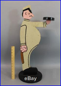 Antique Early 20thC American Folk Art Police Man Butler Smoke Stand, NR