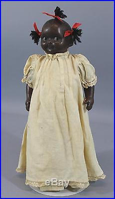 Antique Early 20thC Black Americana Composition Doll Straw Filled Body, NR