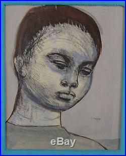 Antique Early 20thC Expressionist Josef Presser Painting Black American Boy, NR