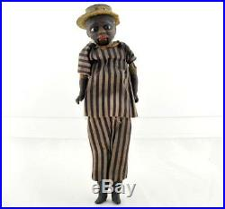 Antique Early Black Paper Mache Doll Americana Glass eyes push belly mouth moves