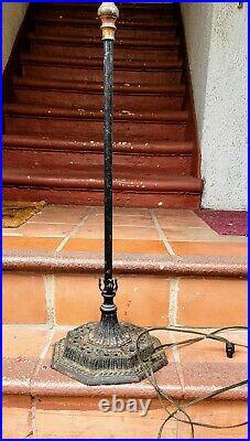 Antique Floor Lamp Bridge style black 5 ft cast iron base 1900s Rewired