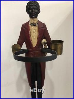 Antique Folk Art Black Americana Old Butler Cast Iron Smoking Stand