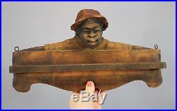 Antique Folk Art Black Americana Wood Carving, Black Boy Tie Towel Rack
