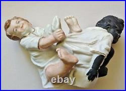 Antique GERMAN BISQUE Porcelain SCHAFER VATER Potty BOYS Figure BLACK AMERICANA