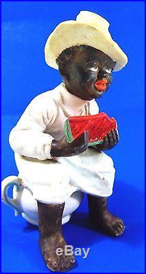 Antique German Parian Bisque Black Man on Potty 1900 Sign Ethnic Art Feather Hat