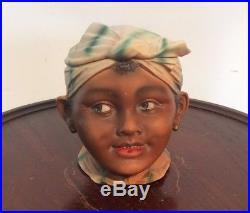 Antique Germany Black Americana Porcelain Figural Boy's Head Tobacco Jar Humidor