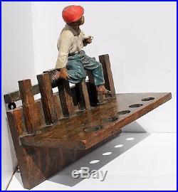 Antique HUBLEY'Boy Smoking Pipe' BLACK AMERICANA PIPE HOLDER Heavy Metal Figure