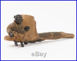 Antique Hand Carved Pipe American Folk Art Black Boy & Alligator Figural Pipe