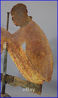 Antique Hand Cut Folk Art Painted Black Americana Fishing Weathervane, NR