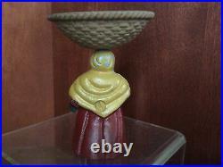 Antique Hubley Black Americana Lady Basket on Head Match Soap Trinket Holder