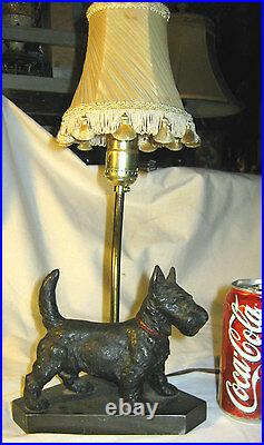 Antique Hubley Black Scottish Terrier Dog Doorstop Cast Iron Art Lamp Toy Shade