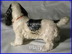 Antique Hubley Cast Iron Black White Red Cocker Spaniel Toy Dog Statue Doorstop