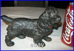 Antique Hubley Solid Cast Iron Black Cocker Spaniel Dog Doorstop Statue Puppy