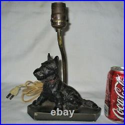 Antique Hubley Toy Black Scottish Terrier Dog Doorstop Cast Iron Lamp No Shade