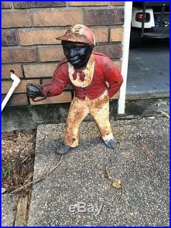 Antique Iron Jocko The Lawn Jockey Hitching Post Original Paint