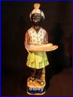 Antique Italian Blackamoor Card Receiver Majolica Statue 1st Of A Pair