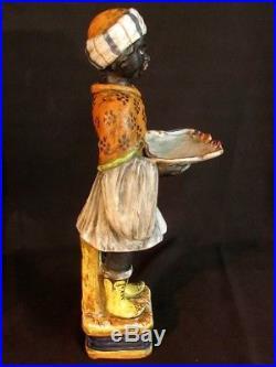 Antique Italian Blackamoor Card Receiver Statue Majolica 2nd Of A Pair