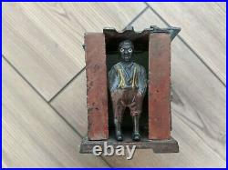 Antique J. E. Stevens Black Americana Cast Iron Mechanical Bank Slave Shack Cabin