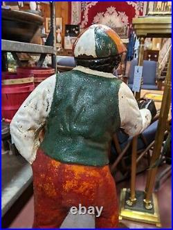 Antique JOCKO Cast Iron Lawn Jockey BLACK AMERICANA 37.5 Faithful Groomsman