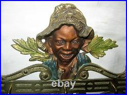 Antique Judd USA Black Boy Wall Art Cast Iron Key Tie Leash Hook Rack Holder Toy