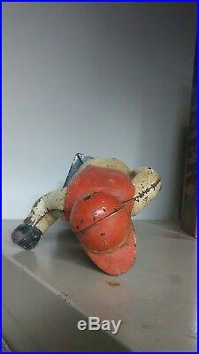 Antique Large Cast Iron Lawn Jockey/ Hitching Post Jocko