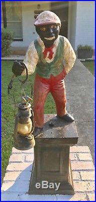 Antique Large Cast Iron Lawn Jockey/ Hitching Post Jocko 1860s Style