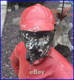 Antique Lawn Jockey 44 Tall Black Americana Concrete Yard Ornament. Local Up