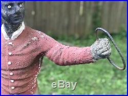 Antique Lawn Jockey Concrete Cement Chipped Paint Statue Farm
