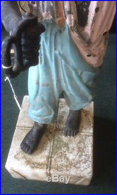Antique Lawn Jockey/ Hitching Post Cast Iron, 39 (46 On Stand) Early Americana
