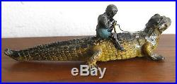 Antique Lead Cold Paint Vtg Black Americana Boy on Alligator Figurine Toy