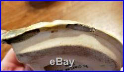 Antique Majolica Tobacco Humidor Jar Black Americana Boy With Cap