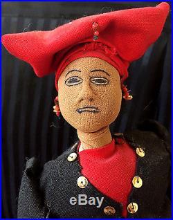 Antique Marie Laveau Black Americana Stockinette Display Doll Handmade Folk Art