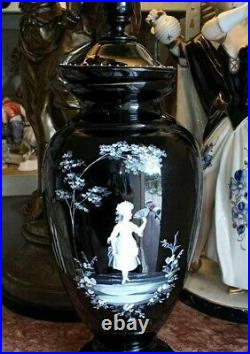 Antique Mary Gregory Black Urn with Lid, XIX C