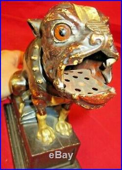 Antique Mechanical Cast Iron Bank J&E Stevens 1890s C9 Bulldog Dog Blue Blanket