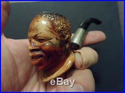 Antique Meerschaum Pipe Hand Carved Black Americana