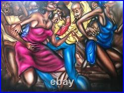 Antique Mid Century Black African American Modern Oil Painting, Ernie Barnes