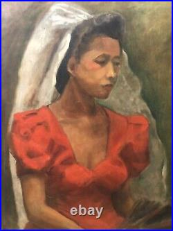 Antique Mid Century Black African American Modern Oil Painting Exhibited 1943