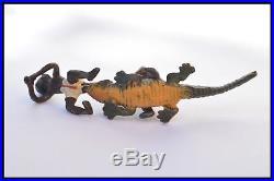 Antique Miniature Black American Americana Lead Alligator +Children Figure c1920