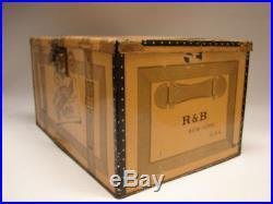 Antique Mustard Tin Trunk Shoe Shine Black Americana Box R&B Glycerole NYC