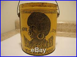 Antique NIGGERHAIR Tobacco Tin RARE Yellow Can Vintage Black Americana NO LID