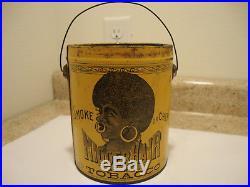 Antique NIGGERHAIR Tobacco Tin RARE Yellow Can Vintage Black Americana NO LID