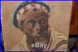 Antique Oil Painting-Portrait Black Man-Africa French Slave-1903-Signed CH Finke