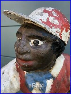 Antique Original Cast Iron Lawn Jockey Statue Hitching Post Black Americana